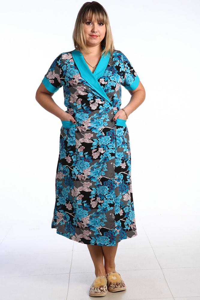 Халат женский МиртЛегкие халаты<br>Халат - это то же самое платье, просто носите вы его дома, дефилируя исключительно перед самыми родными и близкими. И именно ваш домашний халат должен отличаться достойным внешним видом, чтобы ваши домочадцы видели вас всегда самой красивой!   Но не расстраивайтесь, если на примете у вас нет такого халата, потому что к вашему распоряжению всегда будет наш магазин, и сегодня в нем вы найдете прекрасную новинку - женский халат Мирт! Эта модель сможет преобразить вас в считанные секунды, и в это очень легко поверить, взглянув на ее яркую расцветку и женственный фасон. Халат имеет удлиненный фасон, короткие рукава, запах и украшен ярким цветочным принтом.   А сшита модель Мирт из очень приятного телу материала, чтобы во время носки вы чувствовали лишь комфорт.<br>Длина изделия<br>48 размер - от плеча 118 см. Размер: 64<br><br>Производство: Снят с производства/закупки<br>Принадлежность: Женская одежда<br>Основной материал: Кулирка<br>Страна - производитель ткани: Россия, г. Иваново<br>Вид товара: Одежда<br>Материал: Кулирка<br>Сезон: Лето<br>Тип застежки: Без застежки<br>Длина рукава: Короткий<br>Длина: 19<br>Ширина: 17<br>Высота: 9<br>Размер RU: 64