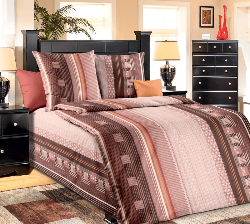 """Постельное белье """"Квадро коричневый"""" (бязь) 1,5 спальный"""