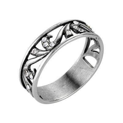 Кольцо бижутерия  2466186чБижутерия<br>Артикул  2466186ч<br>Вставка  Чешское стекло<br>Покрытие  серебрение с оксидированием<br>Размерный ряд  16,5-19,5 Размер: 17.0<br><br>Высота: 3<br>Размер RU: 17.0