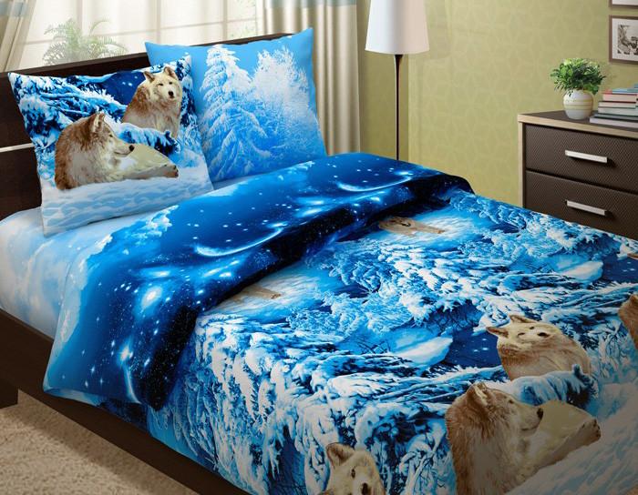Постельное белье Волки 3D (бязь) 2 спальный с Евро простыней (простыня на резинке)