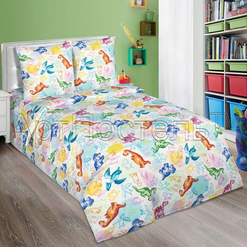 Постельное белье Динозаврики (поплин) 1,5 спальныйДетские КПБ<br>Размер: 1,5 спальный<br><br>Высота: 7<br>Размер RU: 1,5 спальный