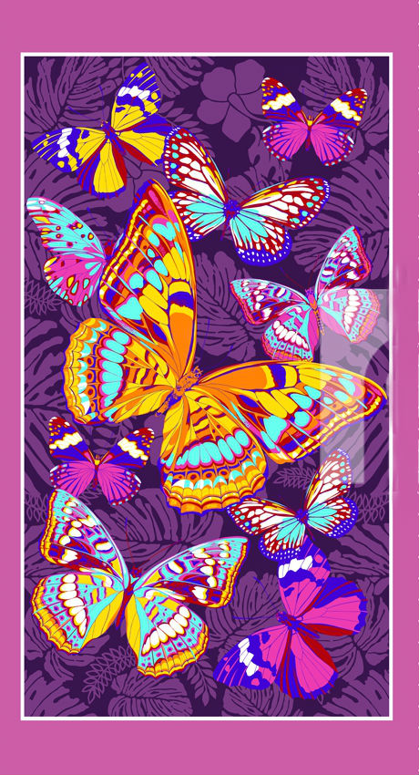 """Полотенце банное """"Фиолетовые бабочки"""" 80х150"""