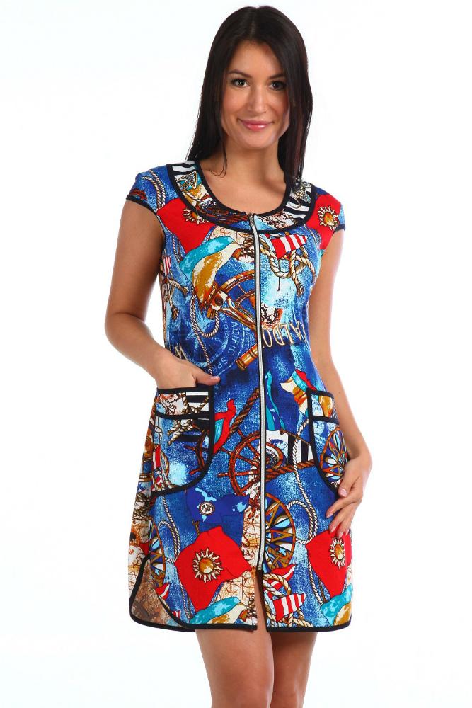 Халат женский АриэльЛегкие халаты<br>Настроение женщины очень часто зависит именно от того, как она выглядит. Поэтому, чтобы всегда находиться в хорошем настроении, радуйте себя красивыми новинками, и знайте, что подарить это самое хорошее настроение вам может даже домашний халатик!<br>Женский халат Ариэль - это замечательная модель с очень женственным и ярким дизайном, которая подарит вам элегантный внешний вид и, конечно же, поднимет строение и вам, и вашим домочадцам. Красочная морская тема воплотилась в дизайне модели в полной мере! Халат сшит из кулирки, в составе которой находится стопроцентное хлопковое волокно, поэтому в носке вещь покажет себя с самой хорошей стороны.<br>Но также халат Ариэль не разочарует вас во время ухода за ним: он хорошо переносит машинные стирки, сохраняя свою форму и насыщенную расцветку. Размер: 46<br><br>Принадлежность: Женская одежда<br>Основной материал: Кулирка<br>Страна - производитель ткани: Россия, г. Иваново<br>Вид товара: Одежда<br>Материал: Кулирка<br>Сезон: Лето<br>Тип застежки: Молния<br>Длина рукава: Короткий<br>Длина: 19<br>Ширина: 17<br>Высота: 9<br>Размер RU: 46