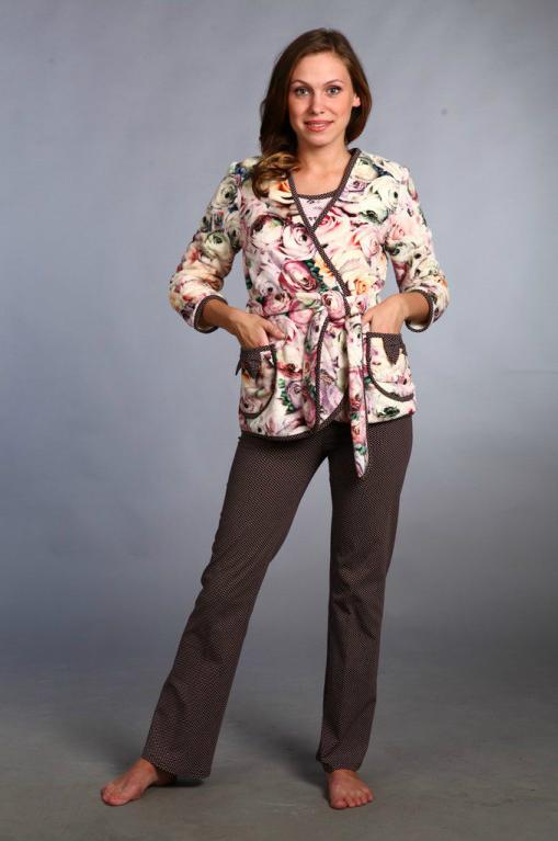 Куртка женская ЭммаВерхняя одежда<br>Куртка запашная, отделка – окантовка и бантики на карманах из кулирки Размер: 44<br><br>Высота: 9<br>Размер RU: 44
