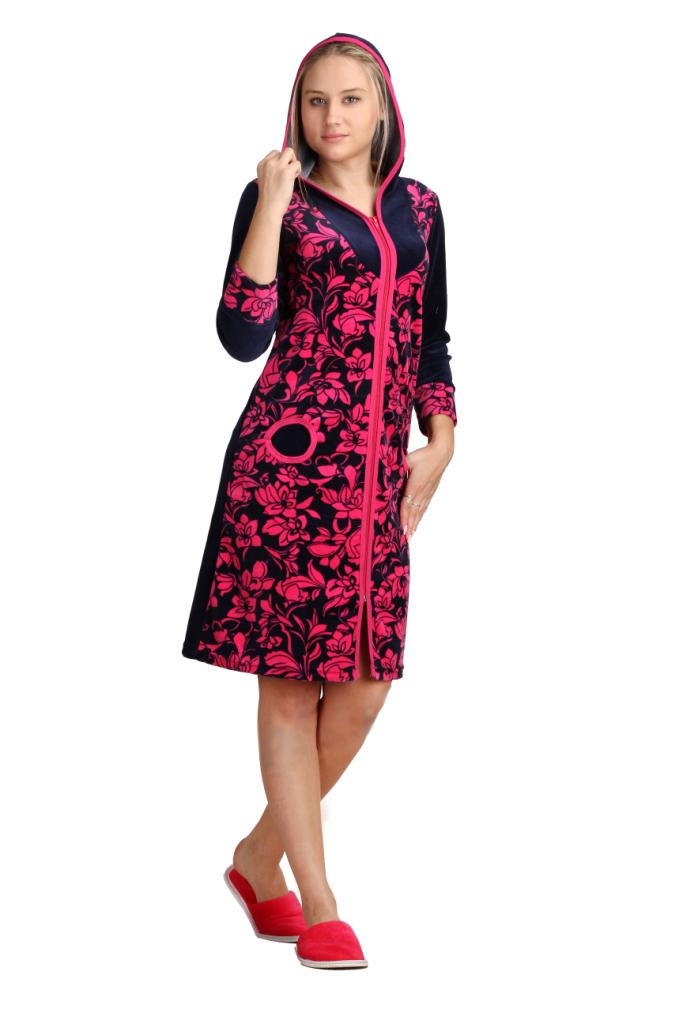 Халат женский ЛавандаТеплые халаты<br>Приталенный фасон и яркая красочная расцветка может быть не только у вечернего платья, но и даже у обычного халата. Хотя женский халат Лаванда обычным вы точно не назовете&amp;amp;hellip;<br>Выполненный из высококачественного велюра, халат отличается высокой практичностью: очень неприхотлив в уходе и не склонен к сильным деформациям в результате стирок и глажек. Женский халат Лаванда окажется вам хорошим другом зимой, ведь он достаточно теплый и длинный.<br>Что уже говорить об изумительной расцветке, которая точно не оставит вас равнодушной. Причем, у вас есть несколько вариантов на выбор - чтобы выбрать то, что больше всего понравится вам!<br> Длина изделия по спинке: 42-48 размеры 92 см,  50-56 размеры 105 см. Размер: 56<br><br>Высота: 11<br>Размер RU: 56