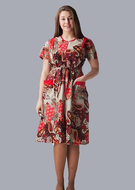Халат женский ЛояЛегкие халаты<br>Нежный и женственный халат - это самый верный друг любой женщины, которая хочет оставаться дома столь же неотразимой, как за его пределами. На этот случай спешим предложить оригинальную модель &amp;amp;mdash; женский халат Лоя.<br>Данный домашний халат имеет приталенный крой с расклешенной к низу юбкой и короткими рукавами. Его расцветка отличается насыщенностью цветовой гаммы и красочностью узора с классическими растительными мотивами. Сшит данный халат из мягкого хлопкового материала &amp;amp;mdash; кулирки, которая отличается высокой воздухопроницаемостью, впитываемостью и износостойкостью.<br>При всей своей элегантности и женственности женский халат Лоя является очень удобной и комфортабельной одеждой для носки дома, в чем вы точно убедитесь в самый первый день. Размер: 56<br><br>Принадлежность: Женская одежда<br>Основной материал: Кулирка<br>Страна - производитель ткани: Россия, г. Иваново<br>Вид товара: Одежда<br>Материал: Кулирка<br>Сезон: Лето<br>Тип застежки: Молния<br>Длина рукава: Короткий<br>Длина: 19<br>Ширина: 17<br>Высота: 9<br>Размер RU: 56