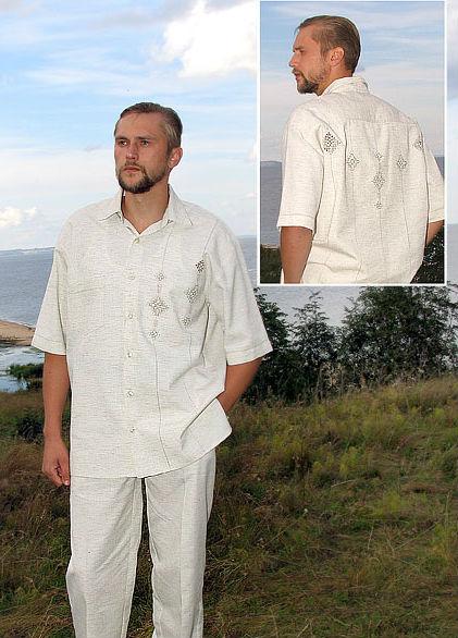 Рубашка мужская ЭльбертРубашки<br>Размер: 48<br><br>Принадлежность: Мужская одежда<br>Основной материал: Лен<br>Страна - производитель ткани: Россия, г. Пучеж<br>Вид товара: Одежда<br>Материал: Лен<br>Длина: 18<br>Ширина: 12<br>Высота: 7<br>Размер RU: 48