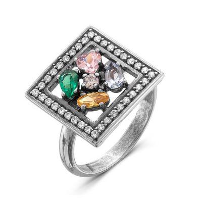 Кольцо серебряное 2386440Серебряные кольца<br>Вес  5,00<br>Вставка  фианиты<br>Покрытие  оксидирование Размер: 19.5<br><br>Высота: 3<br>Размер RU: 19.5