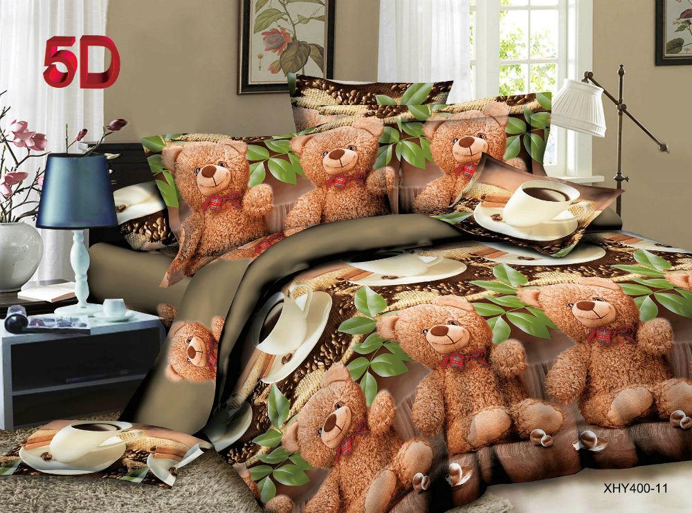 """Постельное белье """"Медвежонок"""" 5D (полисатин) 2 спальный с Евро простынёй"""