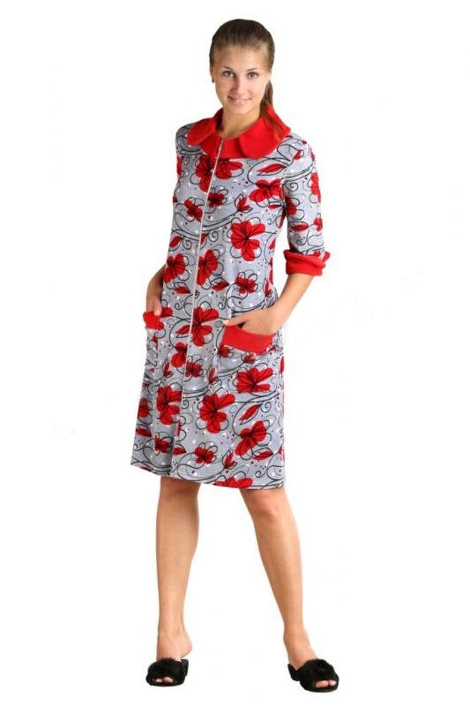 Халат женский РозалиТеплые халаты<br>Не знаете, какую одежду подобрать для дома, чтобы она была удобной, практичной и элегантной? Любите окружать себя модными и стильными вещами? Обратите внимание на женский халат Розали!<br>Его особенность - оригинальный дизайн, сочетающий вечную классику и современные модные тенденции. Застежка на пуговицах, накладные карманы, отложной воротник, рукав длиной 3/4. Планка, манжеты на рукавах и карманах, воротник выполнены из однотонного велюра. Удобен для холодного сезона. В составе -хлопок с примесью полиэстера для улучшения прочности, износостойкости и неприхотливости при уходе. Мягкий, изящный велюр и женственный силуэт сделают образ неповторимым и привлекательным.<br>Женские халаты Розали представлены в разных размерах и нескольких расцветках, а благодаря особенностям кроя он легко подойдет девушкам разной комплекции.<br>Длина изделия:<br>46 размер - 99 см<br>48-50 размеры - 104 см<br>52-60 размеры - 110см Размер: 48<br><br>Принадлежность: Женская одежда<br>Основной материал: Велюр<br>Страна - производитель ткани: Россия, г. Иваново<br>Вид товара: Одежда<br>Материал: Велюр<br>Сезон: Зима<br>Тип застежки: Молния<br>Состав: 80% хлопок, 20% полиэстер<br>Длина рукава: Средний<br>Длина: 30<br>Ширина: 20<br>Высота: 11<br>Размер RU: 48