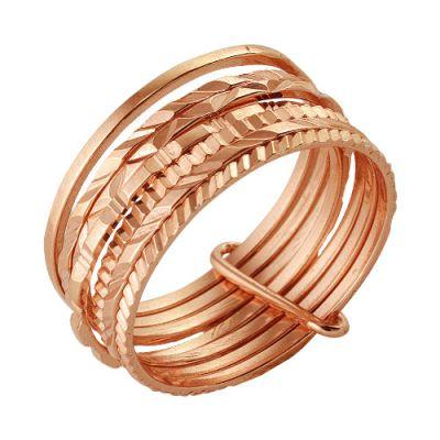 Кольцо серебряное 2301572Серебряные кольца<br>Одно кольцо - хорошо, а два - еще лучше - если вы думаете так же, то вы точно будете без ума от модели, которую мы хотим вам представить!   Данное кольцо представляет собой целых семь тонких колец, скрепленных вместе. Каждое кольцо выполнено из благородного металла, серебра, покрыто довольно стойким золочением и имеет уникальный рельефный узор. Такое украшение на вашей руке точно не оставит вас хотя бы без одного комплимента в вашу сторону, а потому расставаться с ним вы не захотите еще долгое время!   Кольцо подойдет девушкам и женщинам как с маленькими миниатюрными пальчиками 16,5 размера, так и с пальцами среднего, 19,5, размера. <br>Артикул 2301572 Вес 3,80 Покрытие золочение Размерный ряд 16,5-19,5 Размер: 17.5<br><br>Принадлежность: Драгоценности<br>Основной материал: Серебро<br>Страна - производитель ткани: Россия, г. Приволжск<br>Вид товара: Серебро<br>Материал: Серебро<br>Вес: 3,80<br>Покрытие: Золочение<br>Проба: 925<br>Вставка: Без вставки<br>Габариты, мм (Длина*Ширина*Высота): 21*10,7<br>Длина: 5<br>Ширина: 5<br>Высота: 3<br>Размер RU: 17.5