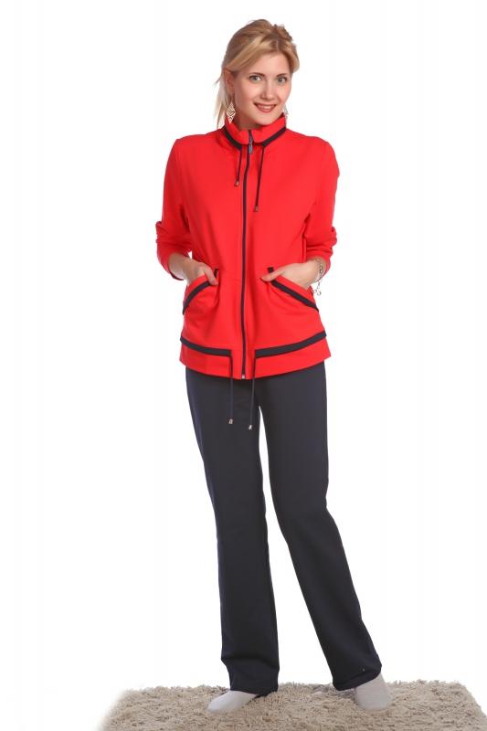 Костюм женский МакейЗимние костюмы<br>Спортивный костюм должен быть максимально удобным для занятий спортом. При этом он должен выглядеть стильно &amp;amp;mdash; ведь женщина должна оставаться прекрасной всегда! Если вы тоже считаете так, то позвольте представить вашему вниманию женский спортивный костюм Макей!<br>Данная модель выполнен в классическом стиле: олимпийка удобно застегивается на молнию и дополнена двумя боковыми карманами. Однотонная расцветка выполнена в ярких оттенках и дополнена отделкой в тон брюкам. Брюки имеют прямой крой и насыщенную темную расцветку. Футер, из которого сшит костюм, позволит вам с комфортом заниматься спортом, а также отдыхать на природе или просто гулять прохладным вечером.<br>Приобрести женский костюм Макей вы можете прямо сейчас, на сайте нашего интернет-магазина, выбрав оптимальный вариант доставки и оплаты. Размер: 54<br><br>Принадлежность: Женская одежда<br>Комплектация: Брюки, толстовка<br>Основной материал: Футер<br>Страна - производитель ткани: Россия, г. Иваново<br>Вид товара: Одежда<br>Материал: Футер<br>Сезон: Весна - осень<br>Тип застежки: Молния<br>Состав: 70% хлопок, 22% полиэстер, 8% лайкра<br>Длина рукава: Длинный<br>Длина: 30<br>Ширина: 20<br>Высота: 11<br>Размер RU: 54