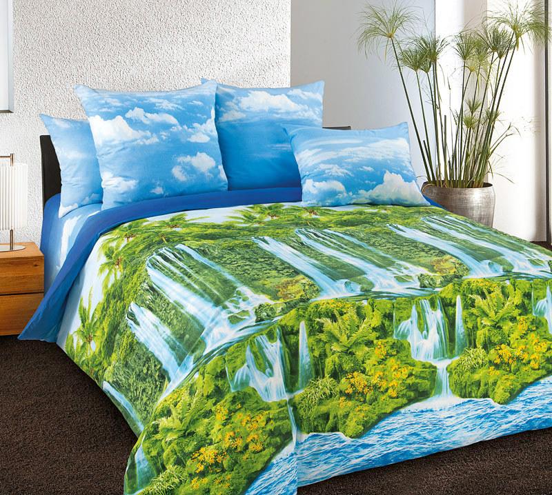 Постельное белье Водопад (перкаль) 1,5 спальныйПеркаль<br>Размер: 1,5 спальный<br><br>Высота: 9<br>Размер RU: 1,5 спальный