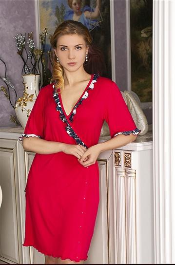 Халат женский МарленЛегкие халаты<br>Глубоко в душе каждой девушки и женщины живет настоящая гордая принцесса, и в полной мере ощутить себя ею поможет женский халат Марлен, в котором вы сразу почувствуете себя по-другому.<br>Прелесть данной модели заключается не только в том, что она имеет утонченный и красивый дизайн с насыщеной расцветкой и принтованными вставками, придающими ей еще больше элегантности. Не менее важное достоинство данного халата кроется в материале, из которого он изготовлен &amp;amp;mdash; вискозе, мягкой, нежной ткани, которая позволяет коже дышать и не вызывает раздражения.<br>Носить женский халат Марлен - истинное удовольствие и возможность почувствовать себя неповторимой. Разнообразие расцветок позволит подобрать халатик, который на сто процентов будет к лицу! Размер: 48<br><br>Принадлежность: Женская одежда<br>Основной материал: Вискоза<br>Страна - производитель ткани: Россия, г. Иваново<br>Вид товара: Одежда<br>Материал: Вискоза<br>Тип застежки: Без застежки<br>Состав: 94% вискоза, 6% эластан<br>Длина рукава: Средний<br>Длина: 19<br>Ширина: 17<br>Высота: 9<br>Размер RU: 48