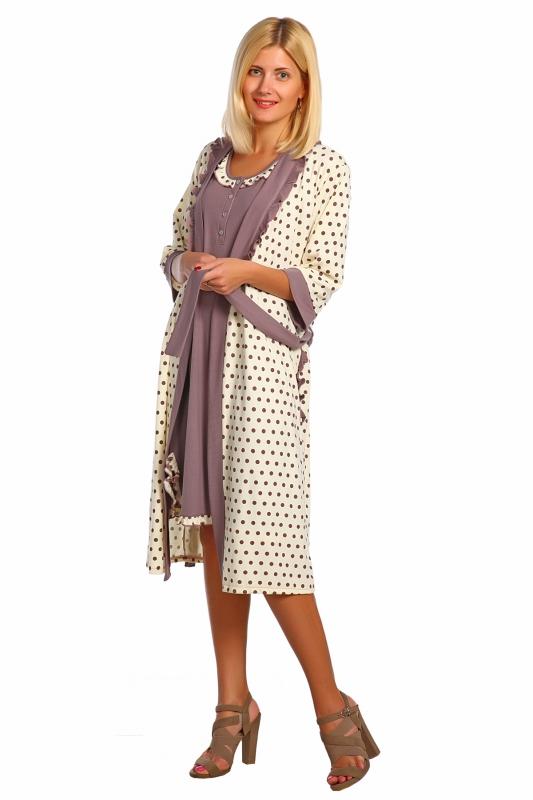 Комплект женский РутиНочные комплекты<br>Комлек кашкорсе, халатик приталенный силуэт на запах, широкий пояс, рукав 3/4, отделка в тон халатика, ночная сорочка, без рукава,  с разрезом, отделка рюша. Размер: 48<br><br>Высота: 9<br>Размер RU: 48
