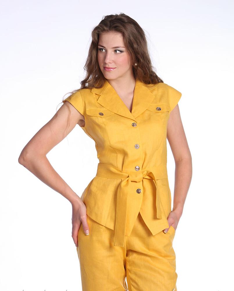 Костюм женский ПоллиЛетние костюмы<br>Размер: 48<br><br>Принадлежность: Женская одежда<br>Комплектация: Брюки, жакет<br>Основной материал: Лен<br>Вид товара: Одежда<br>Материал: Лен<br>Длина: 21<br>Ширина: 18<br>Высота: 7<br>Размер RU: 48
