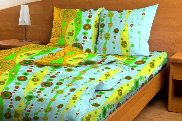 """Постельное белье """"Бисер голубой GS"""" (бязь) 1,5 спальный"""