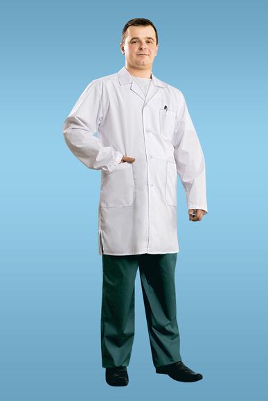 Халат медицинский СамсонДля врачей<br>Рукав длинный<br>На спинке - кокетка, средний шов, на талии-хляст на пуговице<br>В боковых швах-разрезы<br>Рост: 176 см Размер: 58<br><br>Принадлежность: Мужская одежда<br>Основной материал: Смесовые ткани<br>Страна - производитель ткани: Россия, г. Иваново<br>Вид товара: Одежда<br>Материал: Смесовые ткани<br>Длина: 18<br>Ширина: 12<br>Высота: 5<br>Размер RU: 58