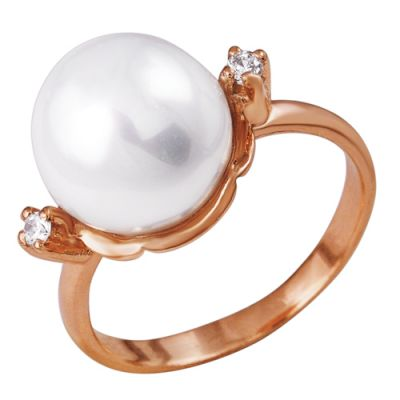 Кольцо серебряное 2381785Серебряные кольца<br>Вес  6,36<br>Вставка  Искусственный жемчуг;<br>Покрытие  золочение Размер: 17.5<br><br>Высота: 3<br>Размер RU: 17.5