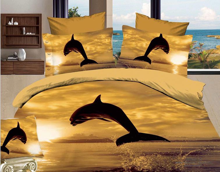 """Постельное белье """"Дельфины в закате 3D"""" (сатин) 2 спальный с Евро простынёй"""