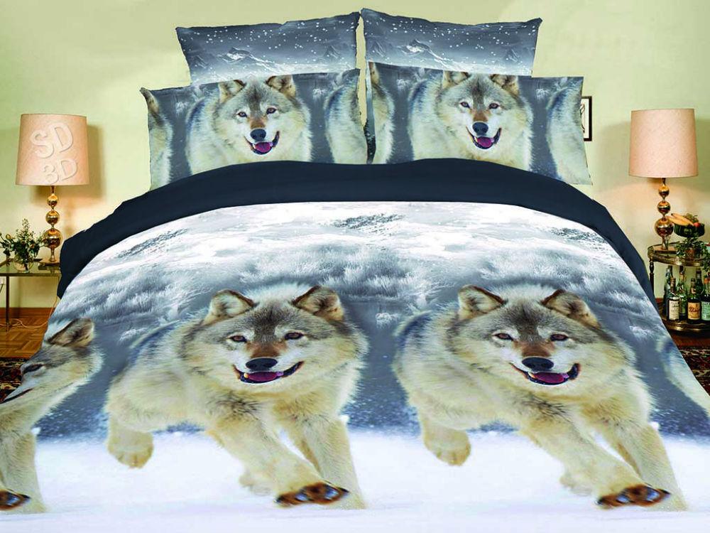 """Постельное белье """"Волки"""" 5D (полисатин) 1,5 спальный"""