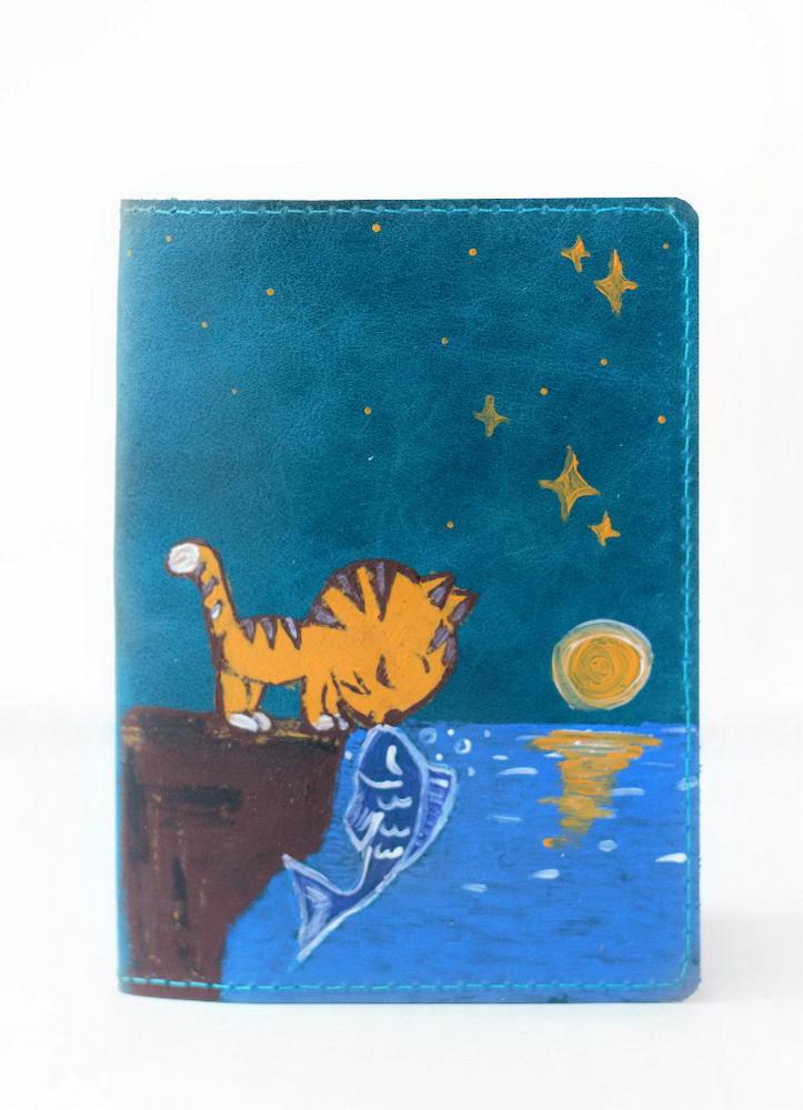"""Обложка для паспорта """"Котик и рыбка"""""""