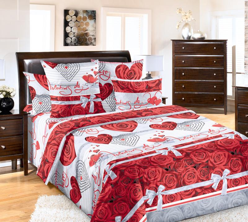"""Постельное белье """"Комплимент"""" (перкаль) 2 спальный с Евро простынёй от Grandstock"""