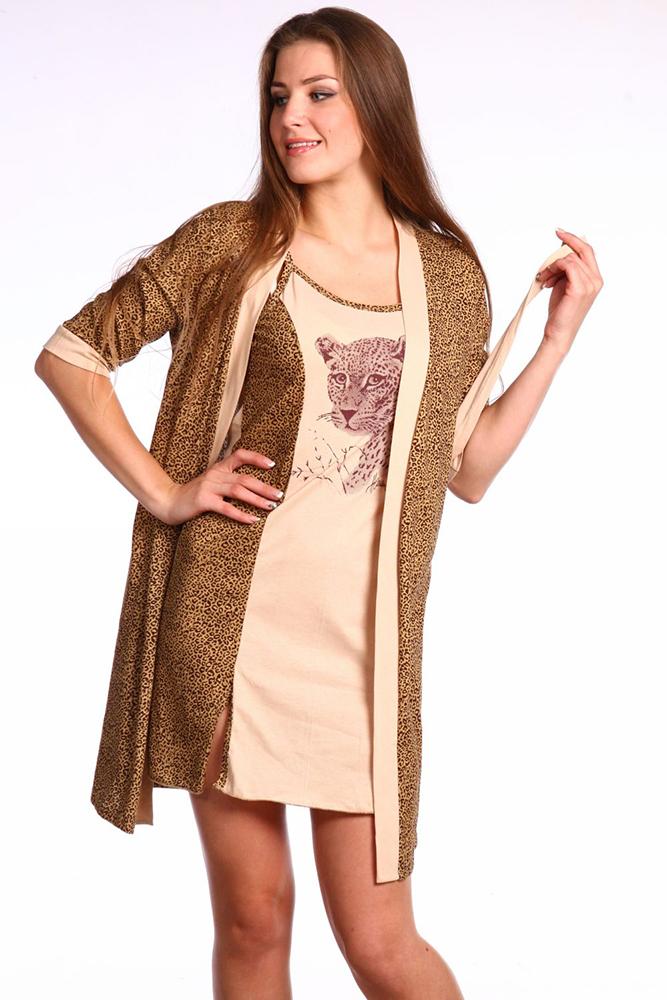 Комплект женский БагираНочные комплекты<br>Милые девушки, помните, что ночь - это совсем не повод переставать быть привлекательной, даже если вы скорее выберите удобную, нежели красивую одежду для сна.   Модель Багира с радостью докажет вам это! Она представляет собой комплектацию, состоящую из халатика и ночной сорочки, которые выполнены в одинаково смелой и элегантной расцветке с животным узором и изображением хищника на груди сорочки.   Но стильный дизайн изделий точно не сможет затмить их высокого качества, потому что сшиты они из кулирки с натуральным хлопковым составом и обладают очень приятной текстурой, которая точно позаботится о вашем теле ночью. Размер: 46<br><br>Принадлежность: Женская одежда<br>Основной материал: Кулирка<br>Вид товара: Одежда<br>Материал: Кулирка<br>Длина: 19<br>Ширина: 17<br>Высота: 9<br>Размер RU: 46