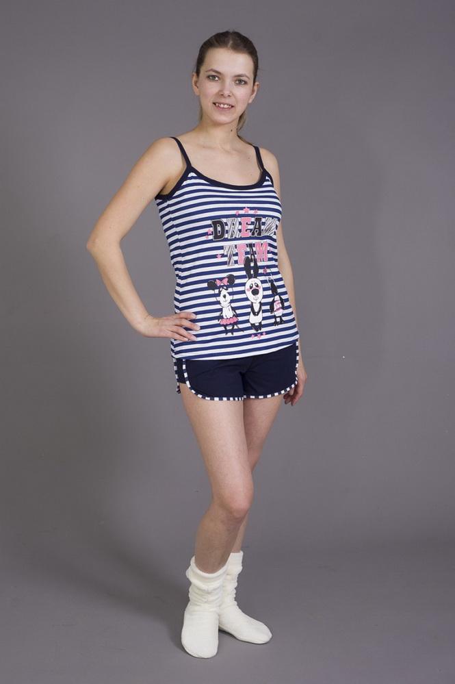 Пижама женская Дрим ТимПижамы<br>Не можете подобрать легкий и удобный комплект одежды ко сну? Обратите внимание на женскую пижаму Дрим Тим! В комплекте - полосатая майка на бретелях и шорты с аккуратной отделкой.<br>Кулирка - отличный материал для пошива легких вещей для сна и повседневной носки в жаркое время года. Ее особенность - отсутствие складок и способность отлично растягиваться в ширину, практически не деформируясь в длину. Фактура кулирки напоминает плотные, тонкие вертикальные косички, а с изнанки - кирпичную кладку.<br>Женская пижама Дрим Тим - это милые мультяшные герои, которые поднимут настроение даже в пасмурный, тяжелый день.  Размер: 52<br><br>Высота: 7<br>Размер RU: 52