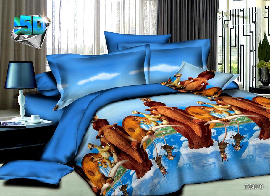 Постельное белье Ледниковый период 5D (полисатин) 1,5 спальный (простыня на резинке)Детские КПБ<br>Размер: 1,5 спальный (простыня на резинке)<br><br>Высота: 7<br>Размер RU: 1,5 спальный (простыня на резинке)