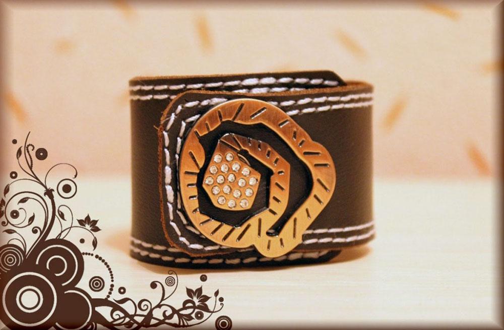 Браслет кожаный СпиральКожаные браслеты<br>Размер: 21<br><br>Высота: 2<br>Размер RU: 21