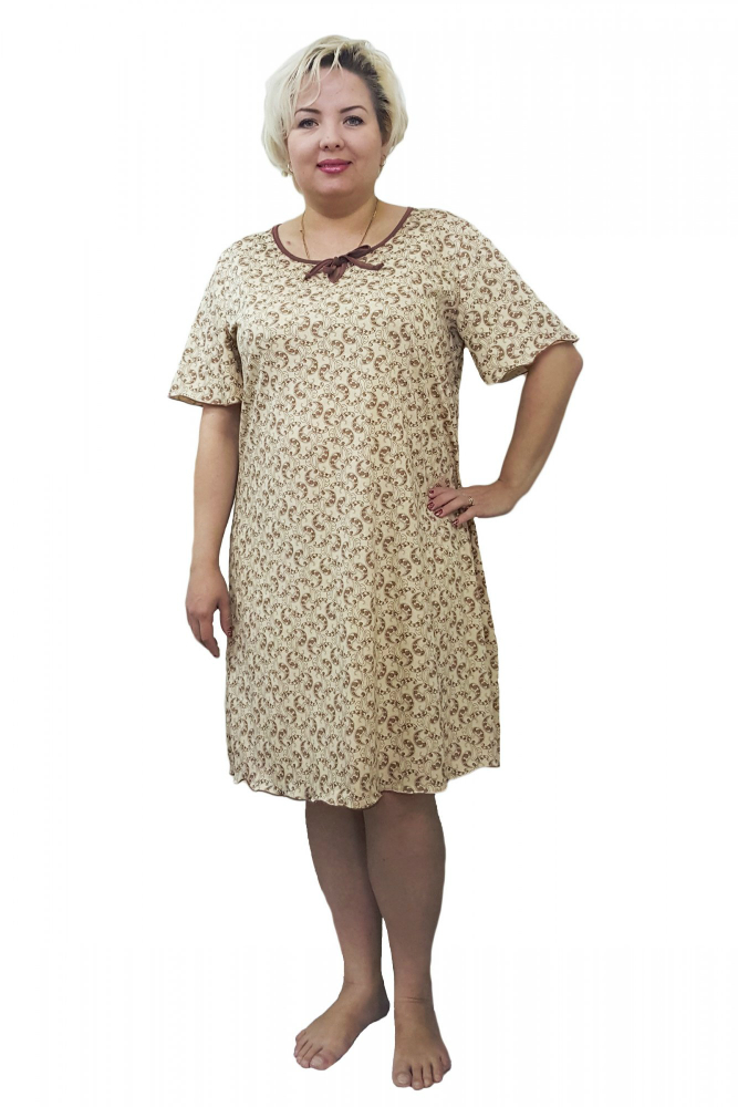Ночная сорочка ВивекаСорочки и ночные рубашки<br>Классическая женская сорочка выполнена из кулирки высокого качества. Ткань очень мягкая, легкая и приятная к телу. В размерах 52,54,56,58 швы только по бокам изделия, полочка и спинка цельнокроеные, размеры 48 и 50 со швом по спинке.  Размер: 54<br><br>Принадлежность: Женская одежда<br>Основной материал: Кулирка<br>Страна - производитель ткани: Россия, г. Иваново<br>Вид товара: Одежда<br>Материал: Кулирка<br>Состав: 80% хлопок, 20% полиэстер<br>Длина рукава: Короткий<br>Длина: 18<br>Ширина: 12<br>Высота: 7<br>Размер RU: 54