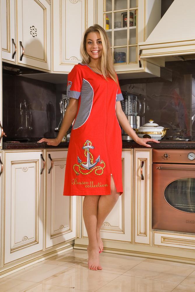 Халат женский ОдиссеяЛегкие халаты<br>Не изменяйте своему вкусу и чувству стиля, когда вы приходите домой и переодеваетесь в домашнюю одежду, - пусть она будет такой же яркой и стильной, как и ваша повседневная одежда!   Например, женский домашний халат Одиссея отличается от стильного платья только тем, что он предназначен для носки дома, а не на улице. Он имеет потрясающий яркий дизайн с однотонной насыщенной расцветкой, принтованными вставками и большой печатью с изображением якоря на подоле.   Женский домашний халат Одиссея также поразит вас своим удобным фасоном и мягкой приятной текстурой, которой он обязан хлопковой кулирке.  Размер: 50<br><br>Принадлежность: Женская одежда<br>Основной материал: Кулирка<br>Вид товара: Одежда<br>Материал: Кулирка<br>Состав: 100% хлопок<br>Длина рукава: Короткий<br>Длина: 19<br>Ширина: 14<br>Высота: 4<br>Размер RU: 50