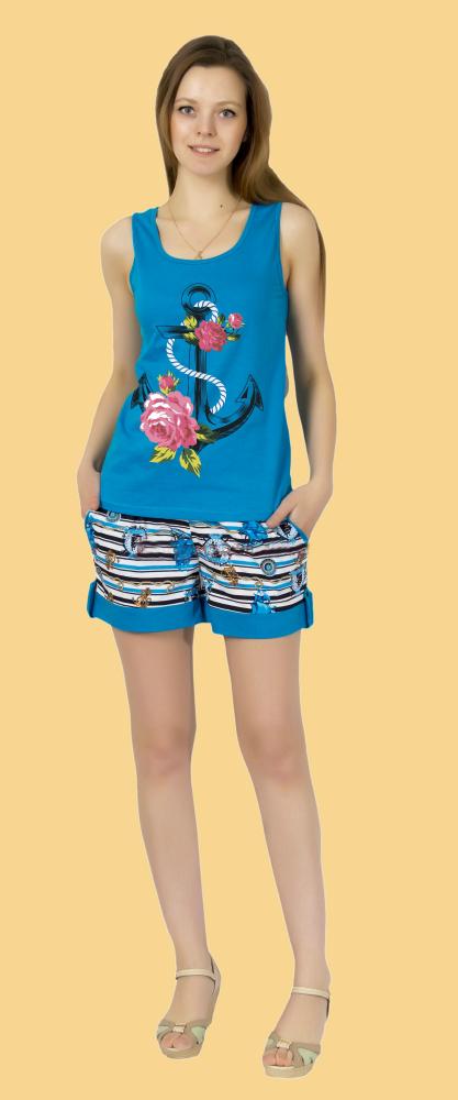 Костюм женский ВладаЛетние костюмы<br>Снова вернуться в атмосферу лета, добавить в повседневные будни яркости и красок, поднять настроение поможет женский костюм Влада.<br>Лучший материал для тонкой и свободной одежды - воздушная кулирка. Ее особенность - отсутствие складок и способность отлично растягиваться в ширину, практически не деформируясь в длину. Среди свойств кулирки - оптимальная гигроскопичность, превосходящая любые синтетические материалы. Ткань не липнет, не парит, не скользит, не давит, не ограничивает движений, не причиняет дискомфорт.<br>В костюме Влада - шорты и майка с ярким принтом без застежки. Доступная цена приятно дополняет картину.  Размер: 48<br><br>Принадлежность: Женская одежда<br>Комплектация: Шорты, майка<br>Основной материал: Кулирка<br>Страна - производитель ткани: Россия, г. Иваново<br>Вид товара: Одежда<br>Материал: Кулирка<br>Сезон: Лето<br>Тип застежки: Без застежки<br>Длина рукава: Без рукава<br>Длина: 19<br>Ширина: 16<br>Высота: 6<br>Размер RU: 48