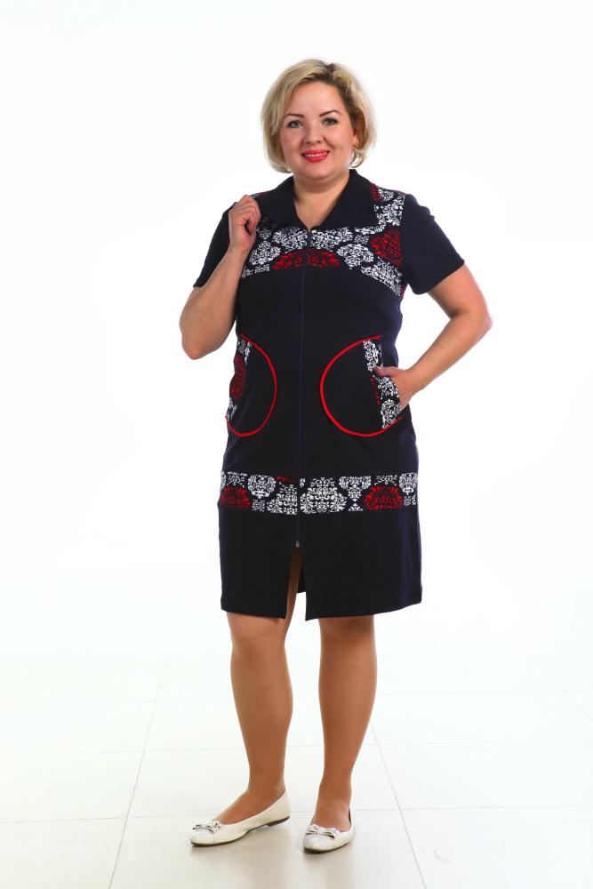 Халат женский МарусяЛегкие халаты<br>Халат в комбинации полоски и гладко крашенной ткани, застежка - молния, сзади хлястики, кармашки. Размер: 50<br><br>Принадлежность: Женская одежда<br>Основной материал: Интерлок<br>Страна - производитель ткани: Россия, г. Иваново<br>Вид товара: Одежда<br>Материал: Интерлок<br>Сезон: Весна - осень<br>Тип застежки: Молния<br>Состав: 100% хлопок<br>Длина рукава: Короткий<br>Длина: 19<br>Ширина: 17<br>Высота: 9<br>Размер RU: 50
