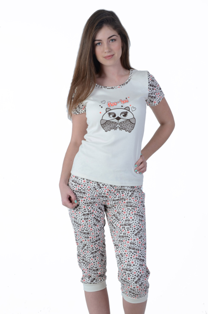 Пижама женская СовятаПижамы<br>На груди выполнена печать, частично повторяющая рисунок на бриджах. Размер: 48<br><br>Высота: 7<br>Размер RU: 48