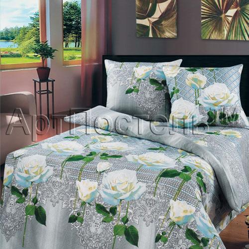 """Постельное белье """"Белые розы"""" (бязь) 1,5 спальный"""