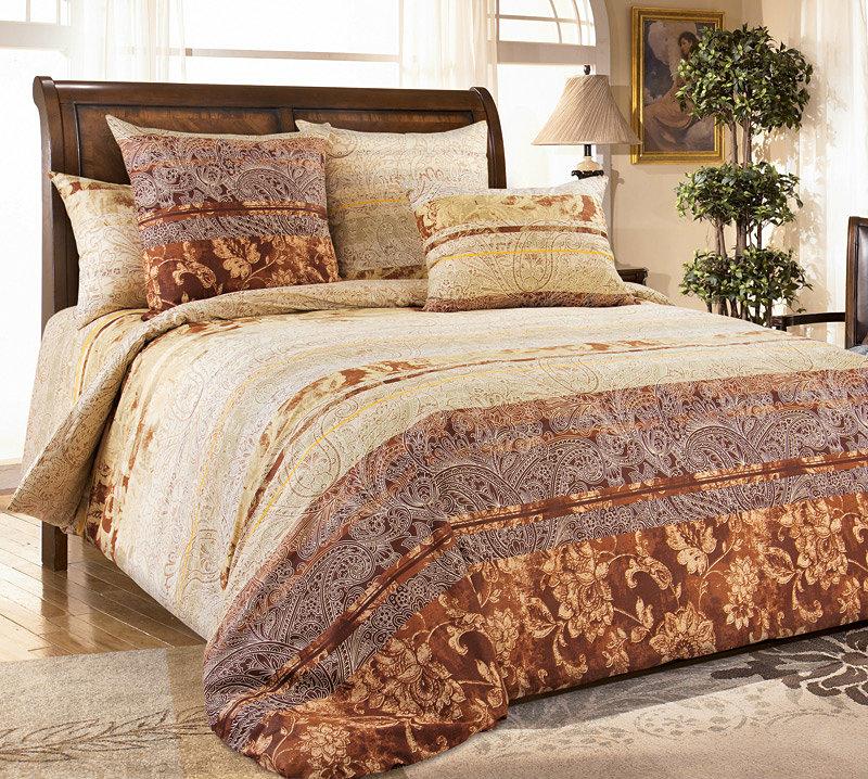 Постельное белье Амбассадор коричневый (перкаль) 2 спальный с Евро простынёй