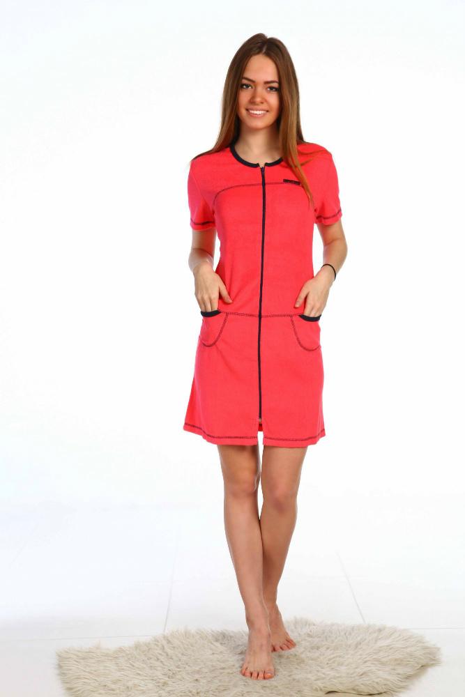Халат женский Комфорт (махра)Теплые халаты<br>Халат выполнениз односторонней облегченной махры, декоративная отстрочка придает выразительность, на груди принт с логотипом. Длина 83 см. Материал – махра. Состав: 80% хлопок, 20% ПЭ. Размер: 54<br><br>Принадлежность: Женская одежда<br>Основной материал: Махра<br>Страна - производитель ткани: Россия, г. Иваново<br>Вид товара: Одежда<br>Материал: Махра<br>Тип застежки: Молния<br>Состав: 80% хлопок, 20% полиэстер<br>Длина рукава: Короткий<br>Длина: 19<br>Ширина: 17<br>Высота: 9<br>Размер RU: 54