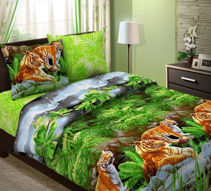 """Простыня """"Тигры"""" (бязь) 1.5 спальный (145х215)"""
