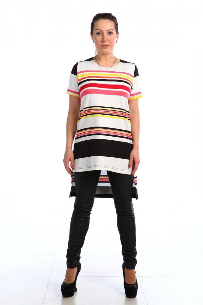 Туника женская ВевеяТуники<br>Оставьте скучные домашние халаты в прошлом и переключитесь на более стильный вариант домашней одежды - женскую тунику Вевея! <br>Данная модель, как вы уже успели заметить, имеет прямой силуэт и оригинальный крой низа изделия, который сзади длиннее, чем спереди. Туника отлично смотрится с шортами, брюками или леггинсами. Яркий дизайн, выполненный в рисунке традиционной цветной полоски, делает тунику оригинальной и стильной, а потому вы услышите немало комплиментов от своих домочадцев и друзей.<br>Вы также не будете разочарованы и качеством женской туники Вевея, потому что она сшита из дышащей вискозы, гипоаллергенной и безопасной даже для чувствительной кожи. Размер: 48<br><br>Высота: 7<br>Размер RU: 48