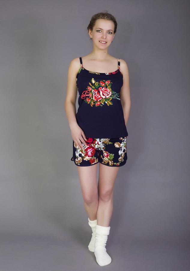 Пижама женская РозаПижамы<br>Выбор одежды для сна - проблема, знакомая всем модницам. Так хочется совместить комфорт, красоту, доступную цену. Но теперь с женской пижамой Роза это не проблема!<br>Для пошива используется эластичный трикотаж на основе стопроцентного хлопка. Материал хорошо тянется, обеспечивая свободу движений и гарантируя удобство. При этом он восстанавливает форму и не подвержен безвозвратной деформации. Трикотаж легко стирается, не нуждается в обязательной глажке, не вытягивается, а заодно не садится при соблюдении нехитрого температурного режима.<br>Женская пижама Роза - это удобные шорты и стильная майка. Свободные и легкие, они не причиняют дискомфорта и не стесняют во время отдыха. Размер: 48<br><br>Высота: 7<br>Размер RU: 48