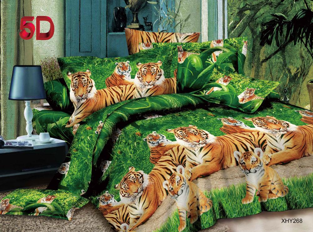 """Постельное белье """"Тигриная семья"""" 5D (полисатин) 1,5 спальный"""