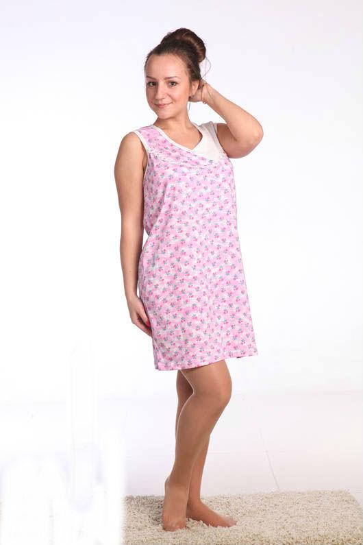 Ночная сорочка ИнараСорочки и ночные рубашки<br>Ночная сорочка на толстых бретелях со вставочкой из кулирки. Размер: 52<br><br>Высота: 7<br>Размер RU: 52