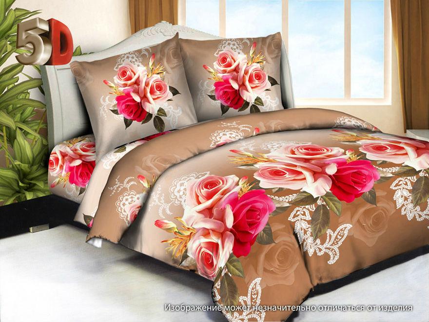 """Постельное белье """"Розовый сад"""" (полисатин) 1,5 спальный"""