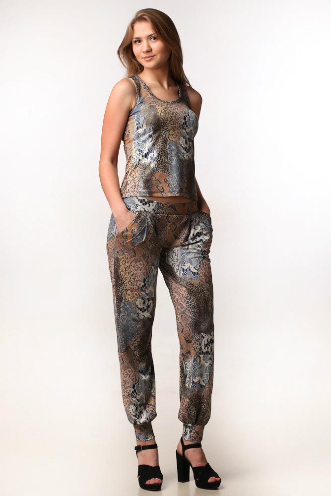 Костюм женский МарьямЛетние костюмы<br>Размер: 44<br><br>Принадлежность: Женская одежда<br>Комплектация: Брюки, топ<br>Основной материал: Масло<br>Вид товара: Одежда<br>Материал: Масло<br>Длина: 19<br>Ширина: 16<br>Высота: 6<br>Размер RU: 44