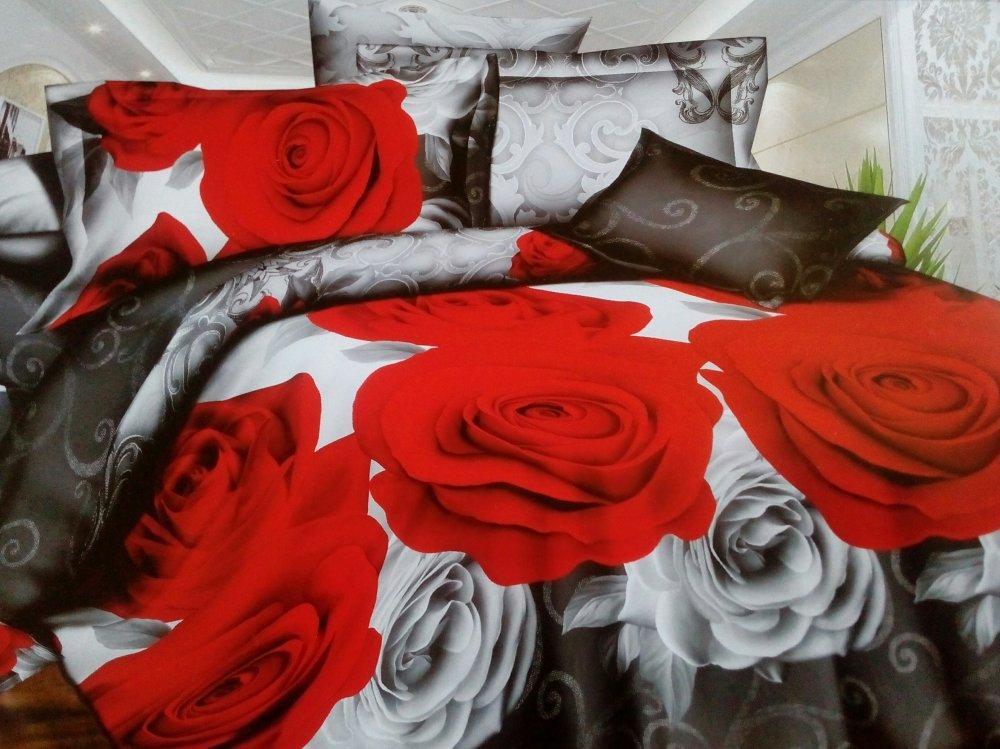 Постельное белье Розы 5D (шелк искусственный) (1,5 спальный) постельное белье сладкий сон шелк искусственный 1 5 спальный