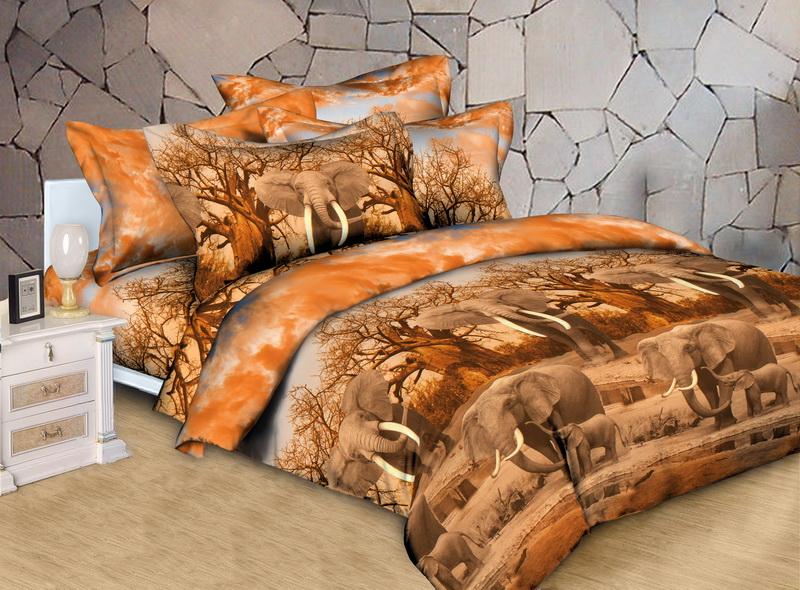 """Постельное белье """"Слоны"""" 3D (поплин) 1,5 спальный"""