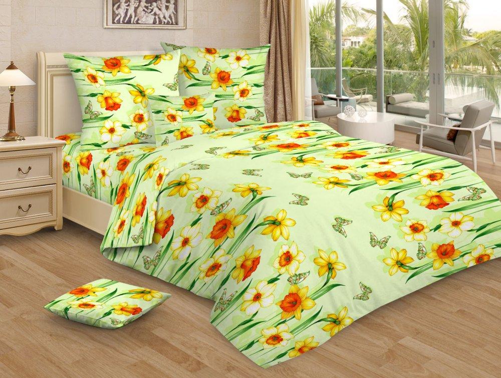 """Постельное белье """"Весенний денек зеленый GS"""" (бязь) 1,5 спальный"""