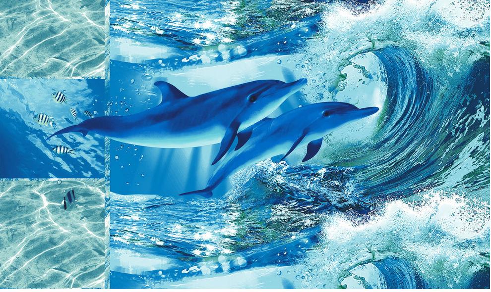 Полотенце банное Дельфинарий 100х150Банные полотенца<br>Размер: 100х150<br><br>Высота: 8<br>Размер RU: 100х150